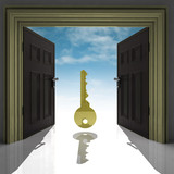 metallic key in golden framed doorway with sky