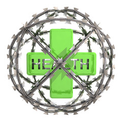 isolated health cross in barbed wire sphere