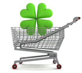 shoping cart with green cloverleaf on white