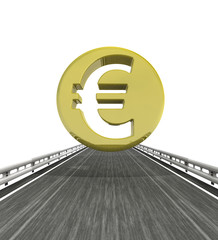 isolated highway with euro coin