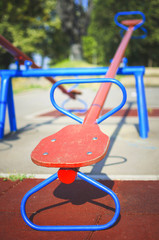 Old teeter on playground