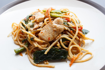 Stir Fried Spicy Spaghetti With chicken (Thai Food)