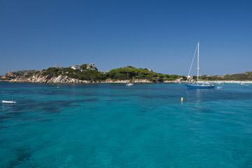 Boat sailing face Santa Maria Island