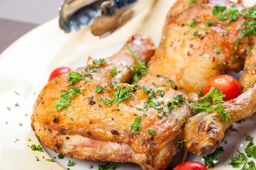 crispy roasted chicken quarter
