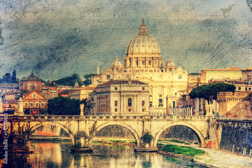 St. Peter's cathedral in Rome. Picture in artistic retro style.