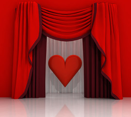 red curtain scene with red heart