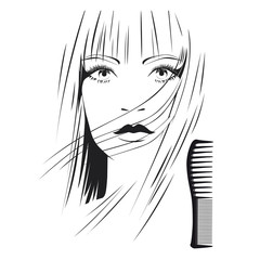 Blond girl with brush in beauty salon b&w