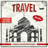 Vintage travel India vacation poster poster