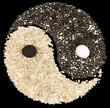 symbole yin yang sur fond noir