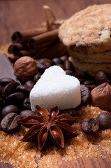 Various kinds of sugar, nuts and coffee beans