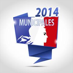 bulle origami : municipales marianne 2014