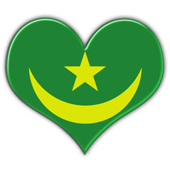 Heart with flag of Mauritania