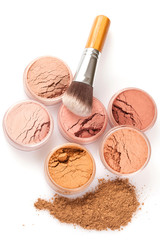Face powder colors and brush, top view
