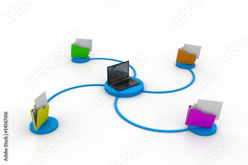 3d illustration of folder icon with laptop