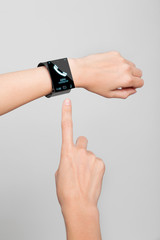 female wrist with a modern Internet Smart Watch