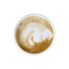 Cup of cappuccino on a white background top view