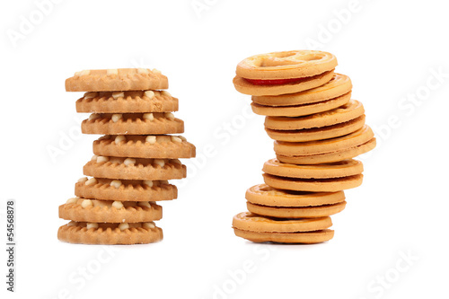 Two stacks of different biscuits.