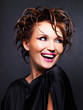 beautiful expressive  woman with fashion  hairstyle