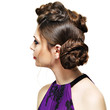 Rear view of woman with creative hairstyle