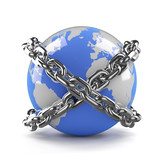 Blue earth bound by chains