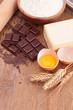 baking ingredient on wood background