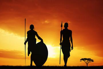 Masai silhouette at sunset