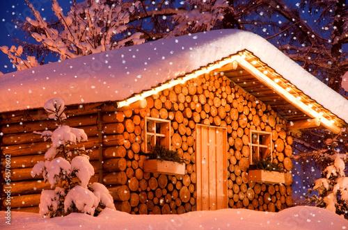 Leinwanddruck Bild christmas hut snow