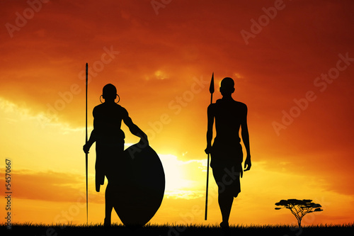 Masai silhouette at sunset