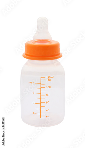 Side baby milk bottle on white background.