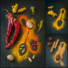 Assorted  of colorful spices on a chalkboard. Collage