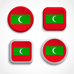 Maldives flag buttons