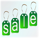 Green signs made of paper. SALE
