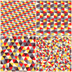Set of four geometric pattern. Texture with triangles, rhombs.Mo