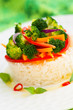 steamed vegetables with rice