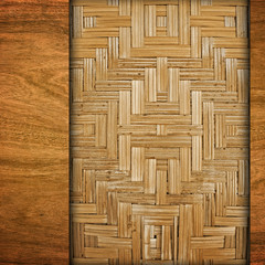 wooden background with rattan