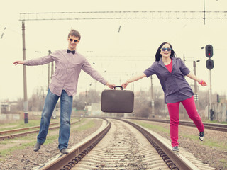 Two teens at railways