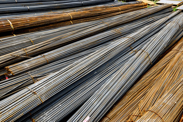 Background texture of steel rods used in construction to reinfor