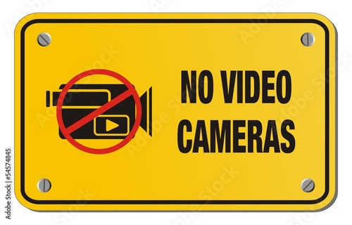 no video cameras yellow sign - rectangle sign