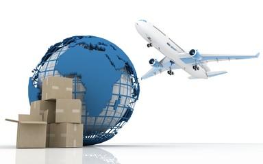 Shipping ( cardboard,plane,globe )