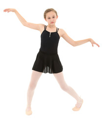 Spastic little dancer girl dancing poorly over white with clippi