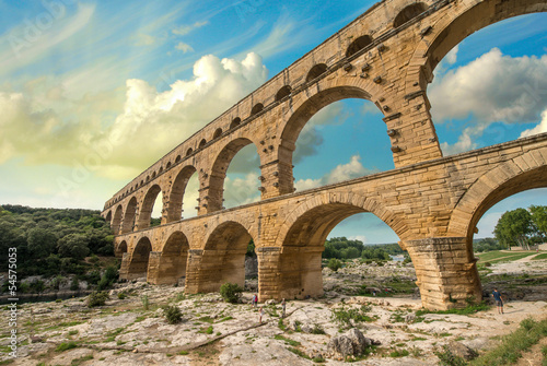 Pont du Gard, Provence - France. Ancient Roman Aqueduct at sunse