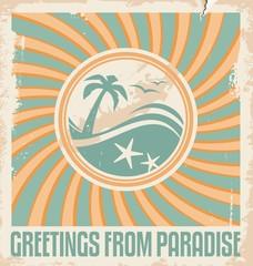 Vintage summer postcard template