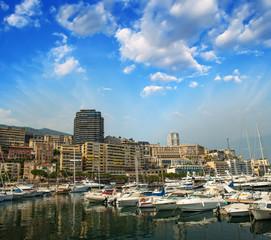 Monaco Montecarlo cityscape, principality harbor view. Skyscrape