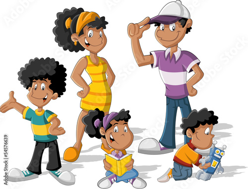 Colorful cute happy cartoon black family