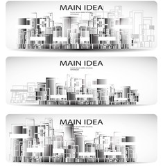 Vector set of city header design