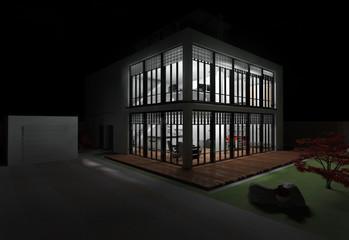Haus mit Dachterrasse in weiß bei Nacht