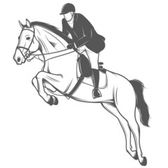 Equestrian sport, jockey on a jumping horse