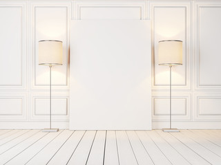 blank poster and lamps
