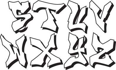 vector graffiti font alphabet part 3