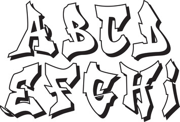 vector graffiti font alphabet part 1
